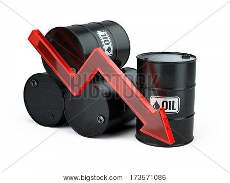 Falling oil price - decrease arrow down and oli barrels isolated on white