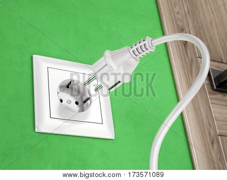 Wall socket on green wall and power plug - 3d rendering