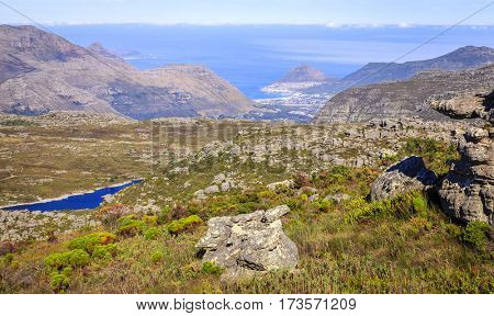 Scenic view towards False Bay from Table Mountain in Cape Town, South Africa