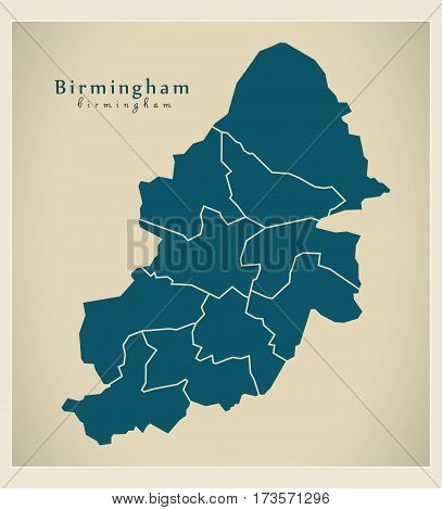 Modern City Map - Birmingham With Boroughs Illustration