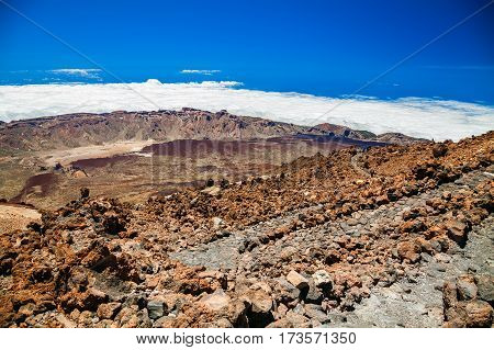 aerial view from the top of volcano Teide in Tenerife Canary Islands Spain