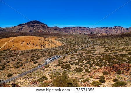 aerial view of the main plateau in the Teide national park Tenerife Canary Islands Spain