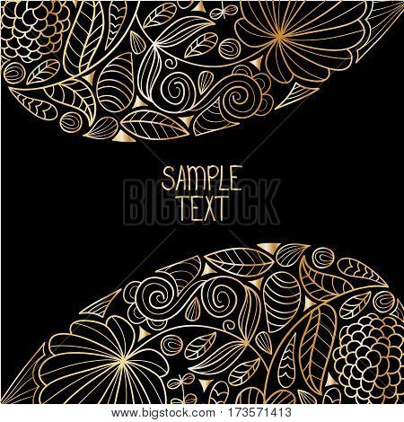 Floral decorative gold natural pattern background with place for text. Can be used for banner, card, poster, label, page decoration or web design