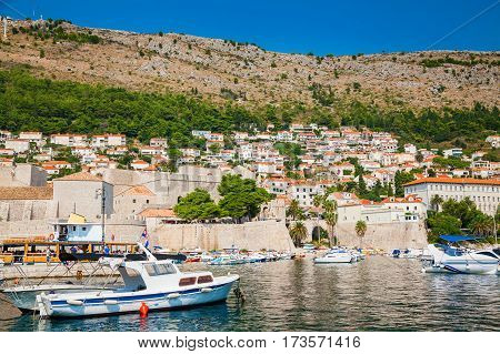 boats at the harbor of the Old port in Dubrovnik Croatia