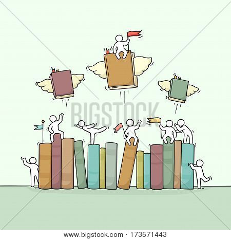 Sketch of working little people with book shelf. Doodle cute miniature scene of workers and flying books. Hand drawn cartoon vector illustration for education design.
