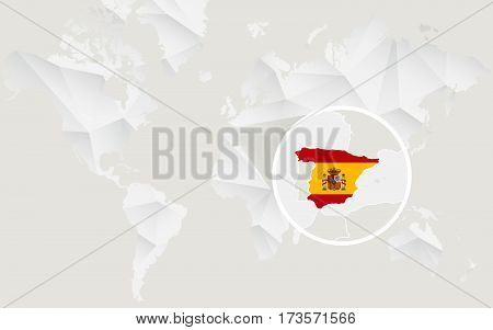 Spain Map With Flag In Contour On White Polygonal World Map.