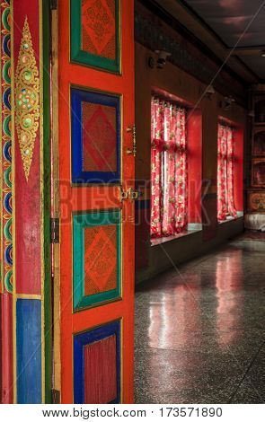 A door to a Buddhist temple at a monastery in Ladakh province of India