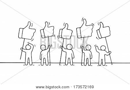 Crowd of working little people with like sings. Doodle cute miniature about communication. Hand drawn cartoon vector illustration for social media and web design.