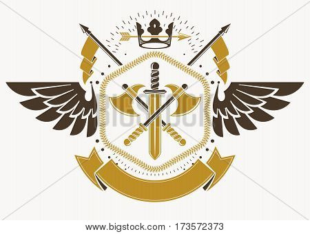 Heraldic Coat of Arms decorative emblem with bird wings vector illustration of royal crown and armory