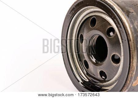 Close Up Macro Used Car Oil Filter
