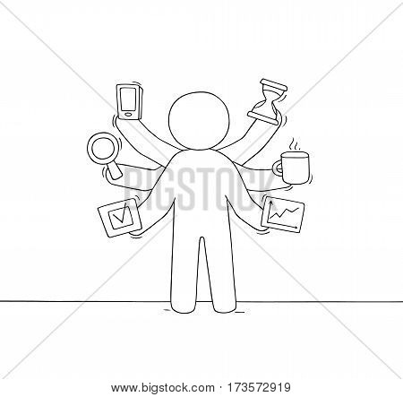 Cartoon businessman with many hands. Doodle cute scene about multitasking and workload. Hand drawn vector illustration for business design.