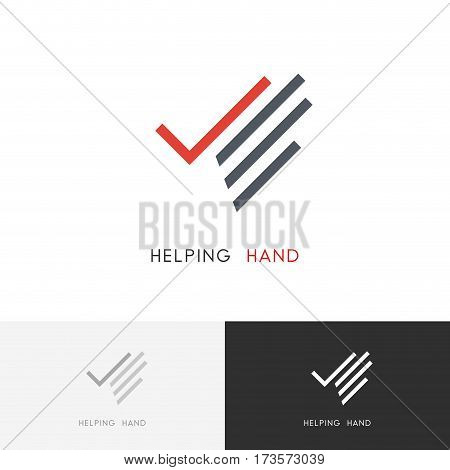 Helping hand logo - palm with check mark or tick symbol. Business, success and charity work vector icon.
