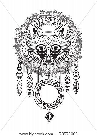 Native American Indian dreamcatcher with feathers and fox. Vector hand drawn illustration with ink. Black and white tribal symbol. Coloring book for adults.