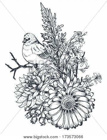 Floral composition. Bouquet with hand drawn flowers, plants and birds. Monochrome vector illustration in sketch style.