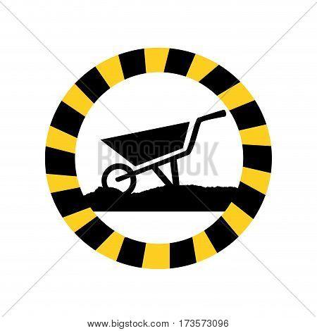 color circular road sign with wheelbarrow vector illustration