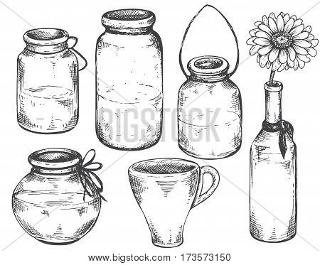 Collection of hand drawn vases and jars. Set of monochrome vector illustrations in sketch style.
