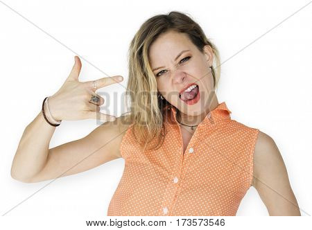 Caucasian Woman fingers tongue concept