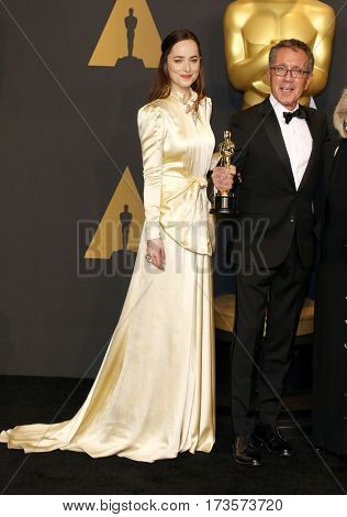David Wasco and Dakota Johnson at the 89th Annual Academy Awards - Press Room held at the Hollywood and Highland Center in Hollywood, USA on February 26, 2017.