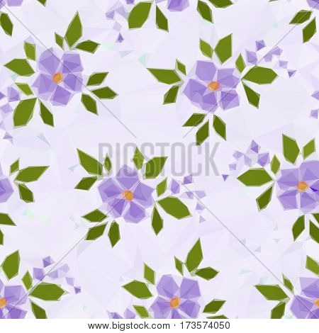 Background with Symbolical Color Flowers, Low Poly Floral Pattern. Vector