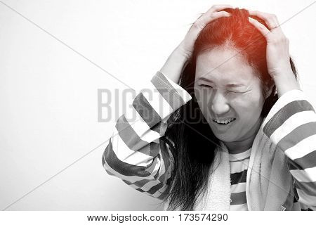 Asian women are aching after a shower.