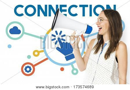 Woman Holding Megaphone Social Media