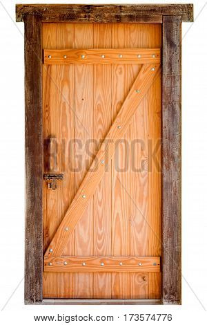 Old wooden door isolated on white background with clipping path