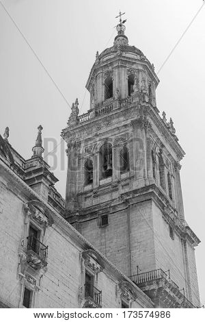Jaen (Andalucia Spain): the medieval cathedral built from 13th to 18th century in Baroque style. Belfry. Black and white