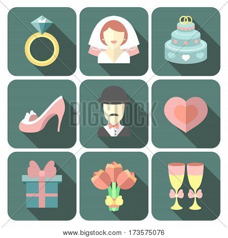 Vector set of app wedding trendy flat icons with long shadows effect. Wedding symbols isolated on white background