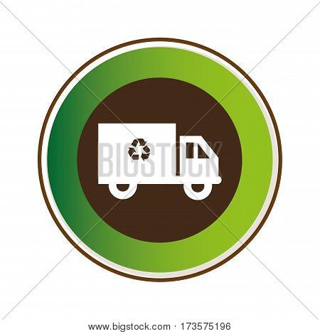 decorative circular frame with recycling truck vector illustration