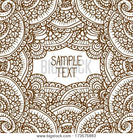 Ethnic tribal abstract background pattern frame in vector with place for your text. Can be used for banner, card, poster, label or web design