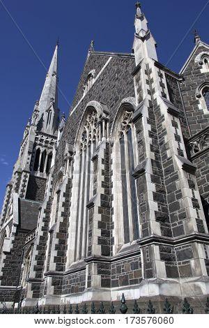 Knox Presbyterian Church built in gothic style in Dunedin city (New Zealand).