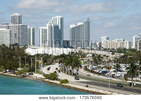 The view of MacArthur Causeway with Miami downtown in a background (Florida).