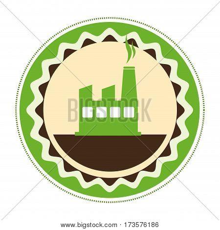 circular emblem of factory and smoke contamination vector illustration