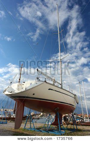 Yacht At Shipyard