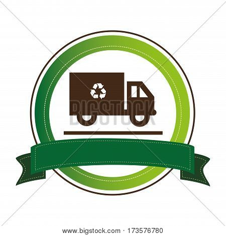 circular emblem with recycling truck and ribbon vector illustration