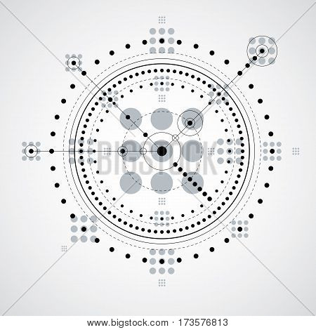 Mechanical scheme monochrome vector engineering drawing with circles and geometric parts of mechanism. Technical plan can be used in web design