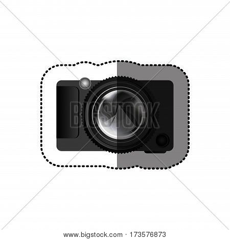 sticker realistic silhouette color with analog camera vector illustration
