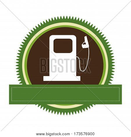 green circular frame with bio fuel station and banner vector illustration
