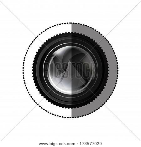 sticker realistic silhouette color with analog camera lens vector illustration