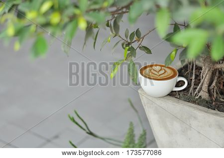 Coffee Cup With Latte Art On The Flowerpot