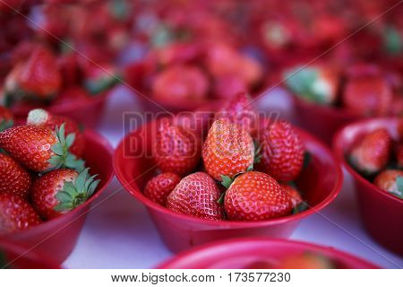 Bowls Of Fresh Picked Strawberries At Farmer's Market