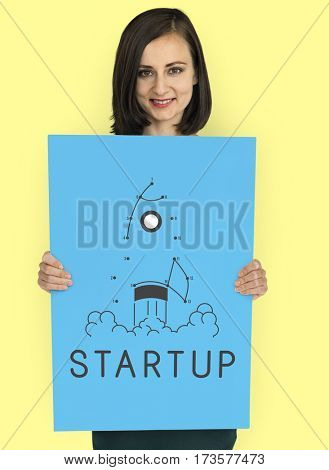 Startup New Business Launch Rocket Connected Dots Puzzle