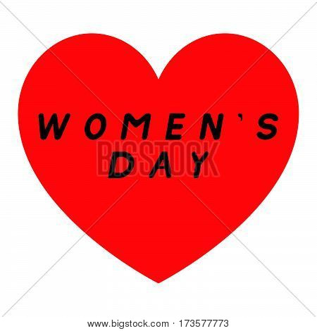 Red Heart For Womens Day With Two Path And A Black Fill Signature.