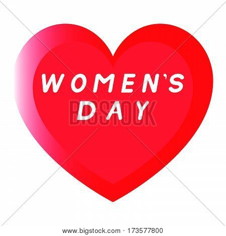 Red Heart For Womens Day With Two Path And An White Fill Inscription.