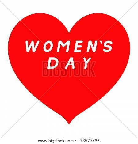 Red Heart Sharp Tip For Womens Day With White Fill Signature.