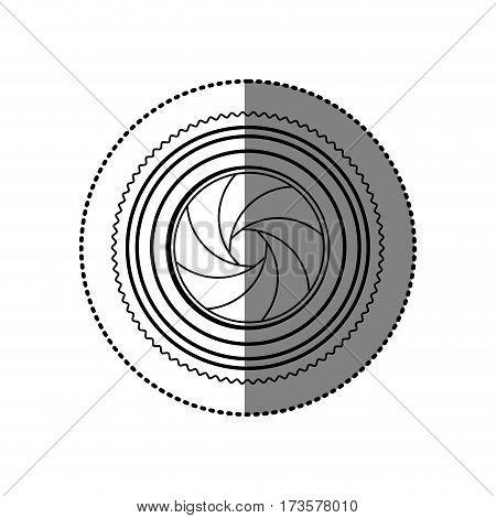 sticker monochrome contour of analog camera lens vector illustration