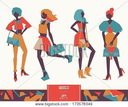 Set of vector fashion girls with handbags. Color collection with large and small bags - clutches and handbags on women in beautiful apparel. Illustration for fashion purposes