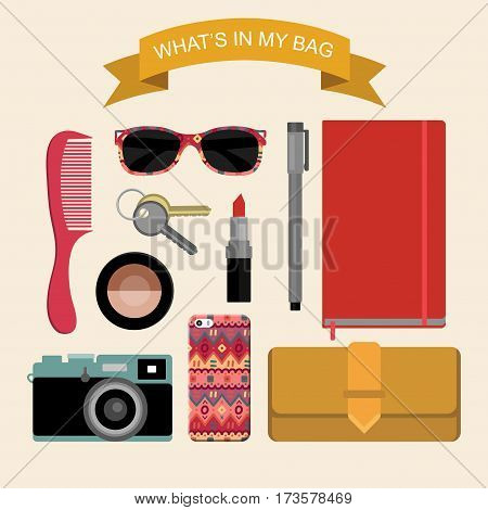 Vector image content of woman's bag with comb, purse, cosmetic, keys, liner, notepad, mobile phone, camera, sunglasses, ribbon in flat style. Glamorous fashion illustration What is inside my bag