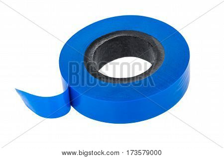 Roll Of Blue Insulating Tape Isolated On White