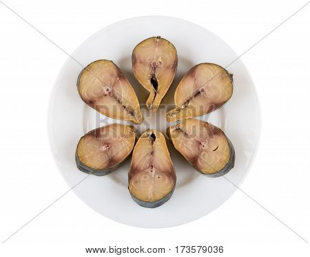 Pieces Of Mackerel Isolated In Plate On White Background